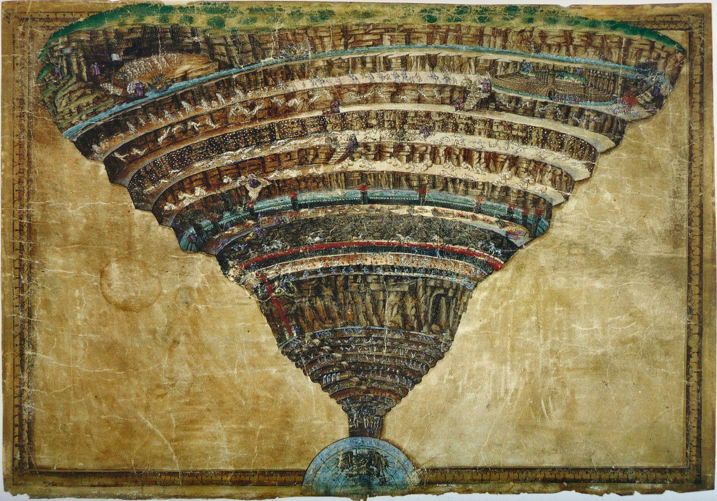 MAPA DO INFERNO DE DANTE, BOTICELLI, 1480-90